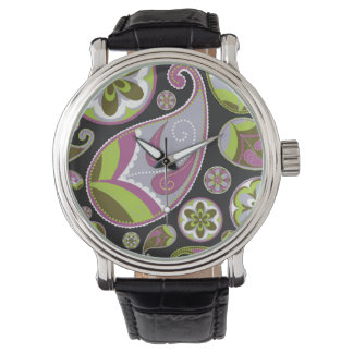 Lila Paisley-Muster Uhr