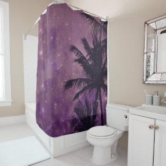 Lila Palmen-Himmel-Duschvorhang Duschvorhang