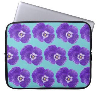 Lila Pansy-Blumen-Laptop-Hülse Laptopschutzhülle