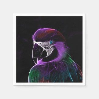 Lila Papageien-Fraktal Digital Papierservietten