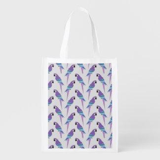 Lila Papageien Wiederverwendbare Einkaufstasche
