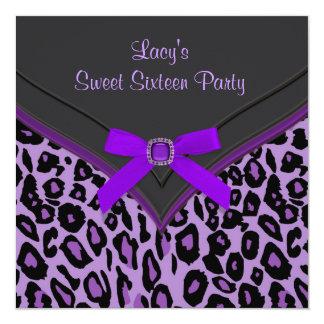 Lila Party des Leopard-Bonbon-16 Personalisierte Ankündigungen
