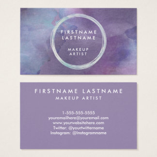 Lila Pastellewatercolor-Salon und Make-upkünstler Visitenkarte