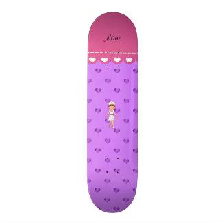 Lila Pastellherzen der personalisierten Personalisiertes Skatedeck