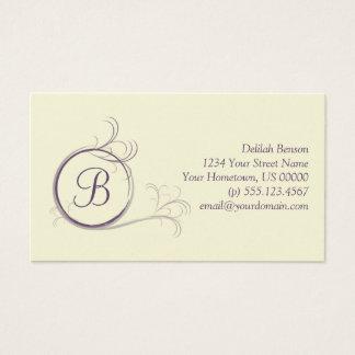 Lila Pearlized Monogramm-Geschäfts-Karte Visitenkarte