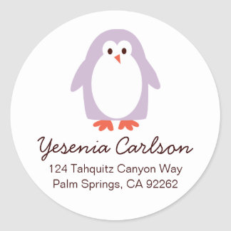 Lila Penguin-Adressen-Etiketten Runder Aufkleber