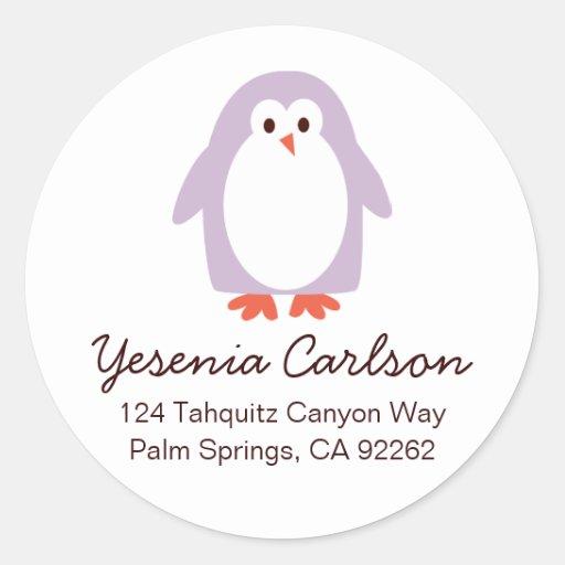 Lila Penguin-Adressen-Etiketten Runde Aufkleber