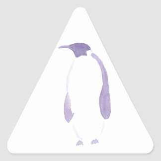 Lila Penguin Dreieckiger Aufkleber