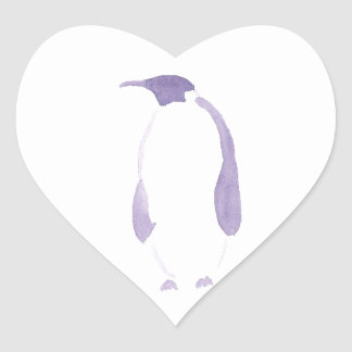 Lila Penguin Herz-Aufkleber