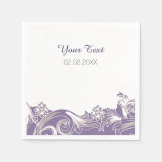 lila personalisierte Hochzeitsmit blumenservietten Papierservietten