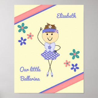 Lila personalisierte Namensballerina des kleinen Poster