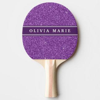 Lila personalisierter Name des Glitter-(Imitat) Tischtennis Schläger