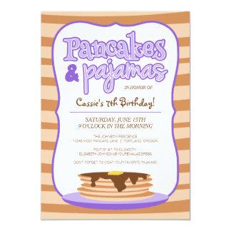 Lila Pfannkuchen-und Pyjama-Geburtstags-Party 12,7 X 17,8 Cm Einladungskarte