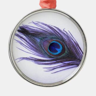 Lila Pfau-Feder Silbernes Ornament
