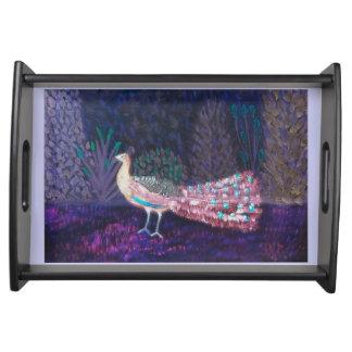 Lila Pfau-Garten-Kunst Tablett