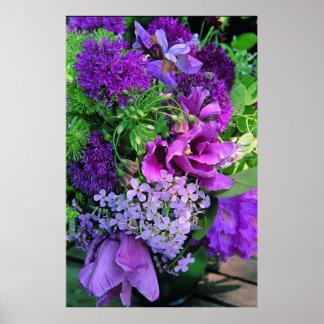 Lila Pflanzer-Blumenanordnungs-Druck Poster