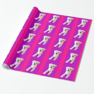Lila pinkfarbener maltesischer Hund 4Adelaine Geschenkpapier
