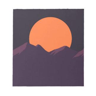 Lila Pixel-Sonnenuntergang Notizblock