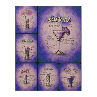 Lila Plakat-Druck der Cocktail-II Holzdruck