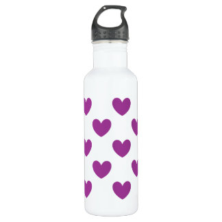 Lila Polkaherzen auf Weiß Edelstahlflasche