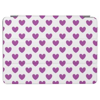 Lila Polkaherzen auf Weiß iPad Air Cover