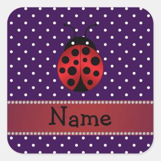Lila Polkapunkte des personalisierten Namensmarien Quadrataufkleber