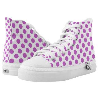 Lila Polkapunktmuster Hoch-geschnittene Sneaker