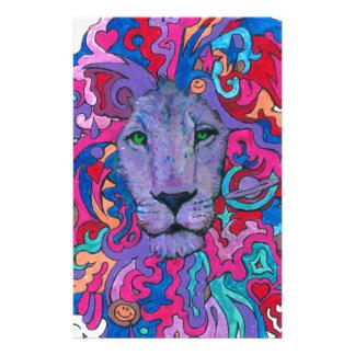 Lila psychedelischer Löwe Briefpapier