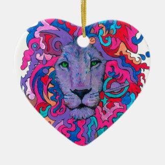 Lila psychedelischer Löwe Keramik Herz-Ornament