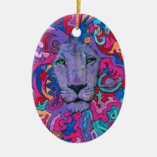 Lila psychedelischer Löwe Ovales Keramik Ornament