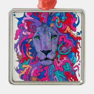 Lila psychedelischer Löwe Quadratisches Silberfarbenes Ornament