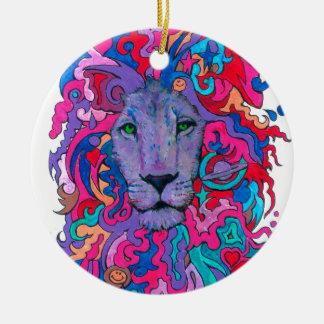 Lila psychedelischer Löwe Rundes Keramik Ornament