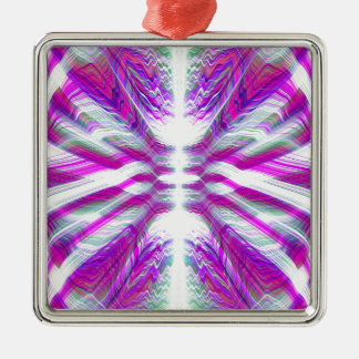 Lila psychedelisches Muster Quadratisches Silberfarbenes Ornament