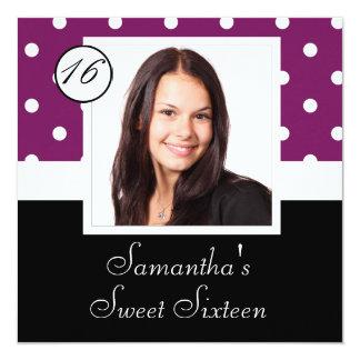 Lila Punkt 16. Geburtstag Quadratische 13,3 Cm Einladungskarte