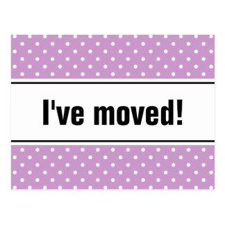 Lila Punkte des neuen beweglichen Postkarten