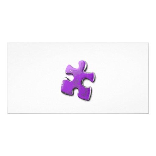 Lila Puzzlespiel! Ein Entwurf auch für Autismus-Be Fotogrußkarten