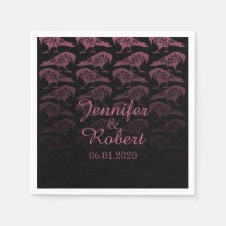 Lila Raben-gotische Hochzeits-Serviette Papierservietten