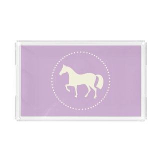 Lila rechteckiger PferdeSilhouettebehälter Acryl Tablett