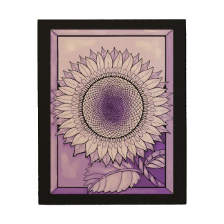 Lila Regen-Sonnenblume Holzwanddeko