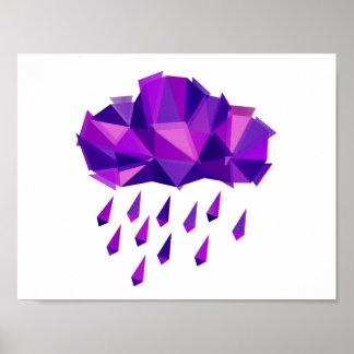 Lila Regen-Zeitgenosse-Geometrie Poster