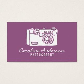 Lila Retro Kamera-Fotograf-Geschäfts-Karte Visitenkarte