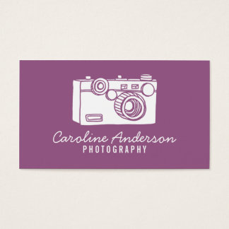 Lila Retro Kamera-Fotograf-Geschäfts-Karte Visitenkarten