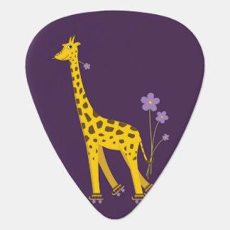 Lila Rollen-Skaten-lustige Cartoon-Giraffe Plektrum
