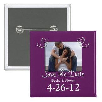 Lila romantischer Save the Date quadratischer Knop Quadratischer Button 5,1 Cm