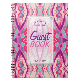 Lila rosa aztekisches Boho Stammes- Gast-Buch Spiral Notizblock