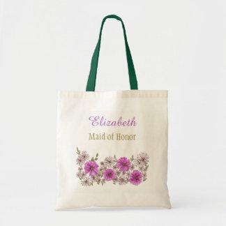 Lila rosa Blumenbrautbrautjungfer mit Namen Tragetasche
