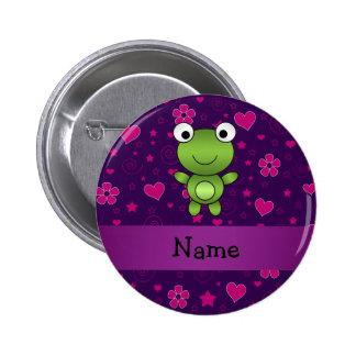 Lila rosa Blumenherzen des personalisierten Namens Anstecknadelbutton