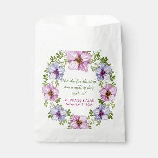 Lila rosa Blumenwreath-Gastgeschenk Geschenktütchen