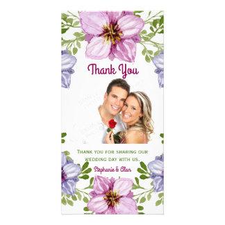 Lila rosa Blumenwreath-Hochzeit danken Ihnen Photo Karte