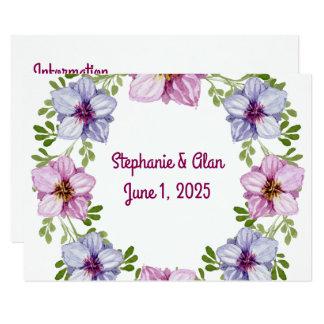 Lila rosa Blumenwreath-Hochzeits-Informationen 8,9 X 12,7 Cm Einladungskarte